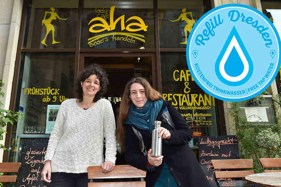Bei Claudia Greifenhahn (49, l.) im Ladencafé aha gibt es kostenloses Wasser  zum Mitnehmen. Organisiert wird das Projekt von Kerstin Wagner (38).
