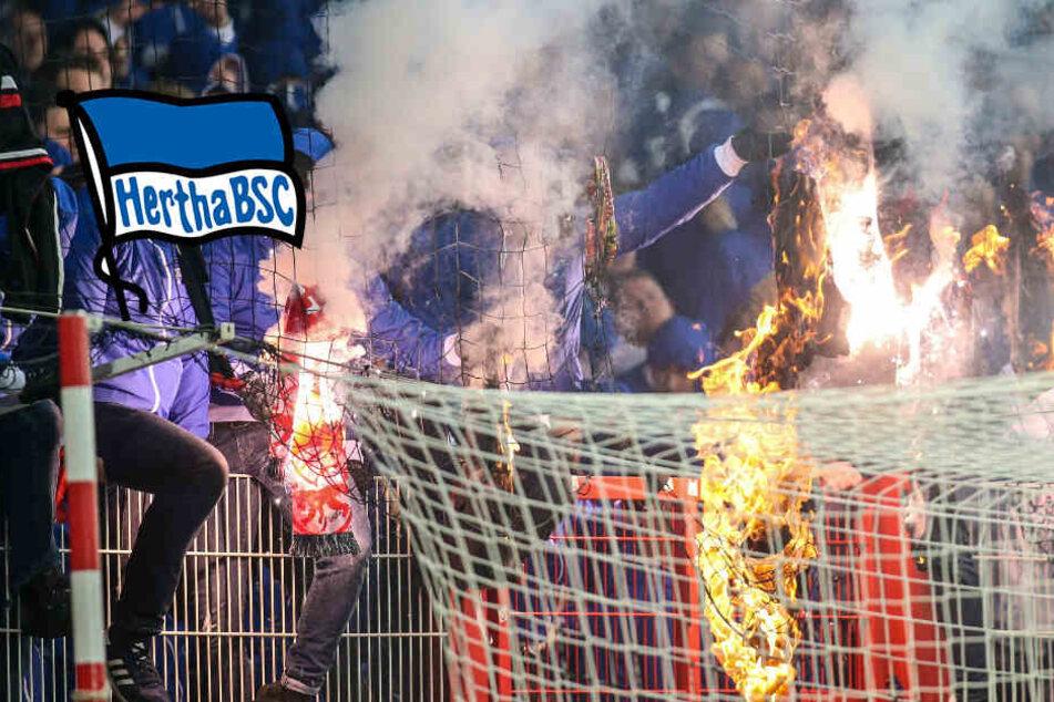 Ausschreitungen bei Berlin-Derby: Hertha-Aufsichtsrat beinahe von Pyro getroffen