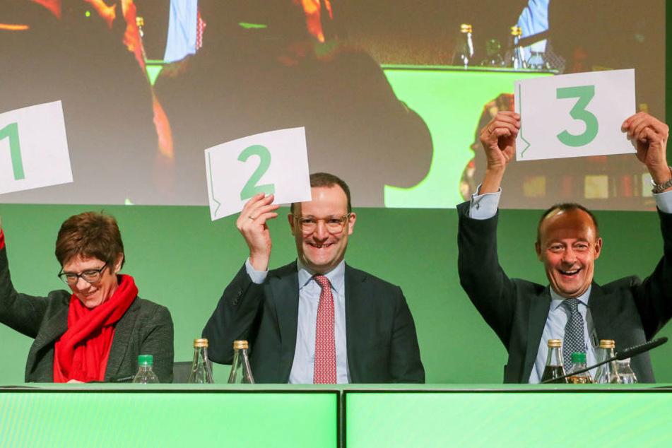 Annegret Kramp-Karrenbauer, Jens Spahn und Friedrich Merz (v.l.n.r.) wollen Nachfolger der CDU-Vorsitzenden Angela Merkel werden.