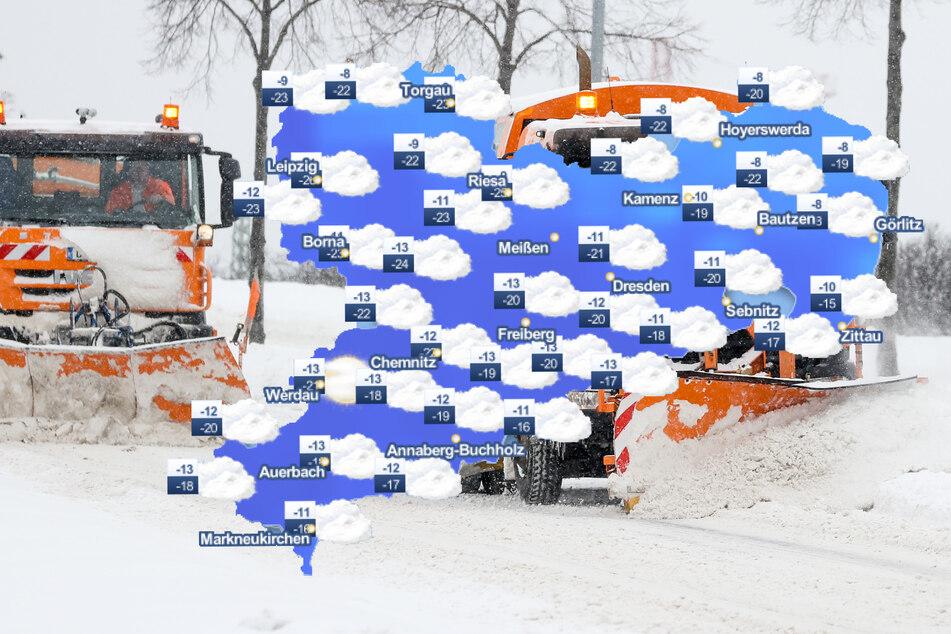 Kräftige Schneefälle haben Sachsen zum Wochenbeginn schwer zu schaffen gemacht.