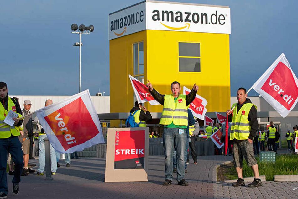 Auch am Montag legten die Mitarbeiter von Amazon Leipzig ihre Arbeit nieder.