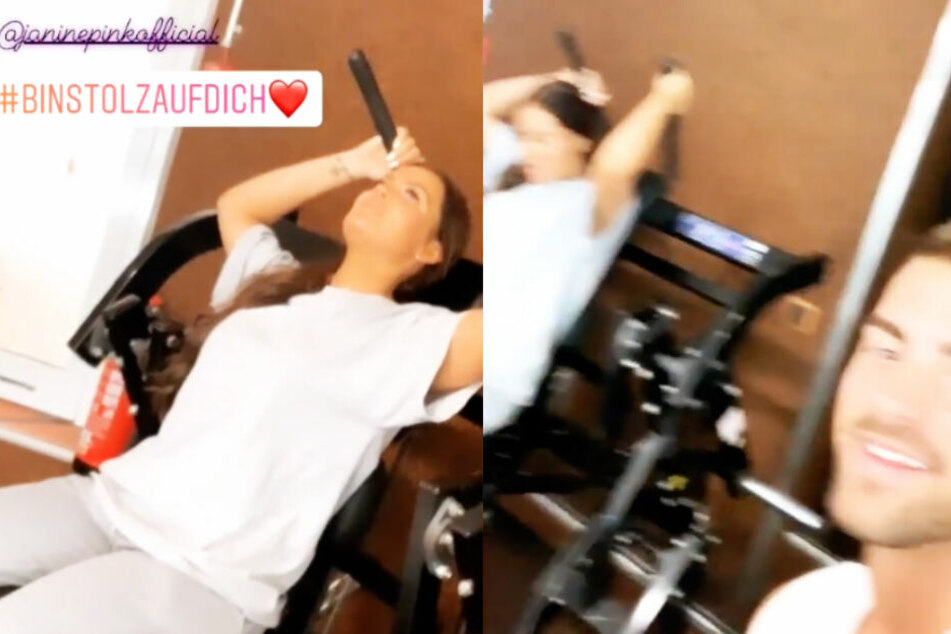 """Tobi hat seine Janine mit ins Fitnessstudio genommen, doch die """"Promi Big Brother""""-Gewinnerin muss noch ein wenig üben..."""