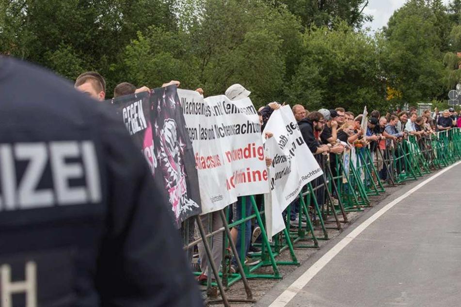 Der Protest gegen das Rechtsrock-Konzert war überschaubar.