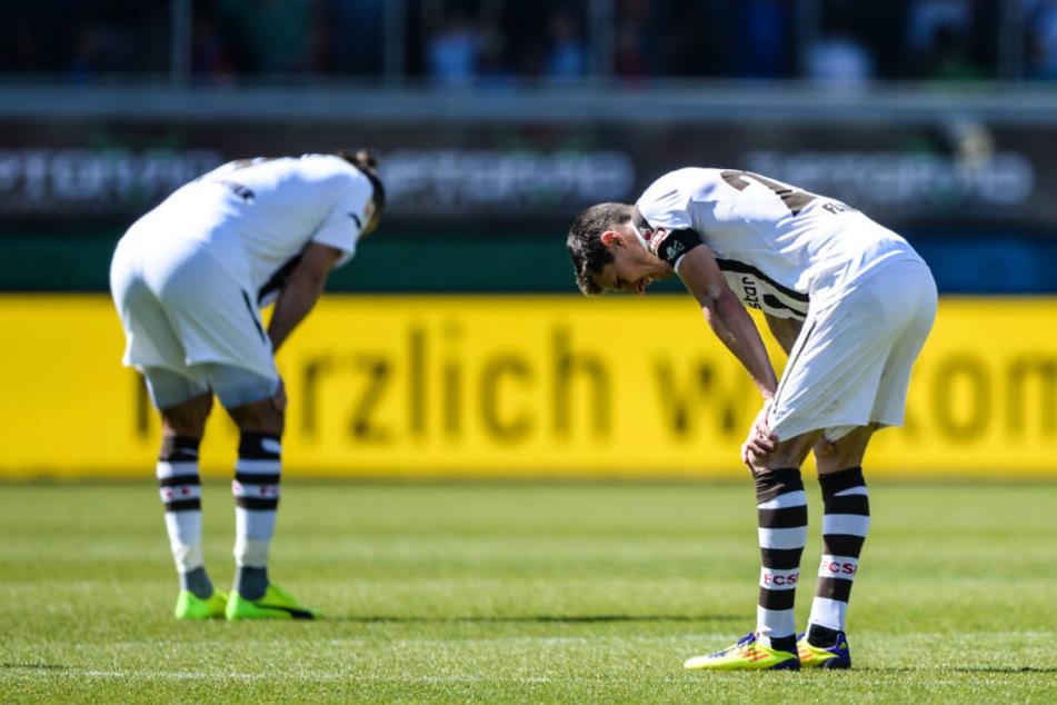 Spieler von St. Pauli nach dem Schlusspfiff gegen Heidenheim.