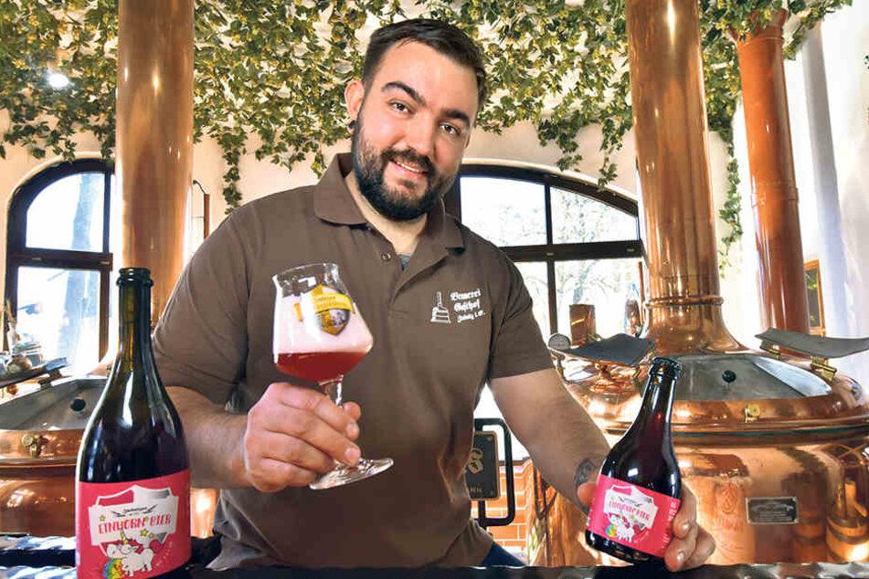 Brauerei-Chef Dominik Naumann brachte das Einhorn-Bier auf den Markt.