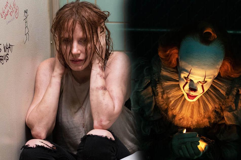 Beverly Marsh (l., Jessica Chastain) muss sich ihrer Vergangenheit stellen. Pennywise (Bill Skarsgard) schürt ihre Ängste. (Bildmontage)