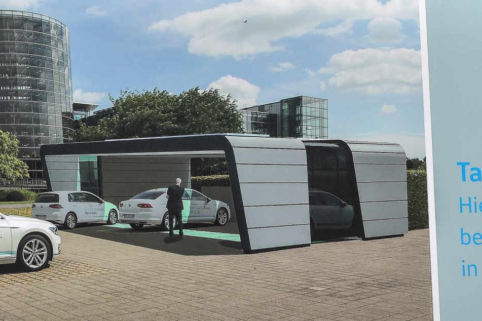 So soll die künftige Elektro-Tankstelle aussehen.