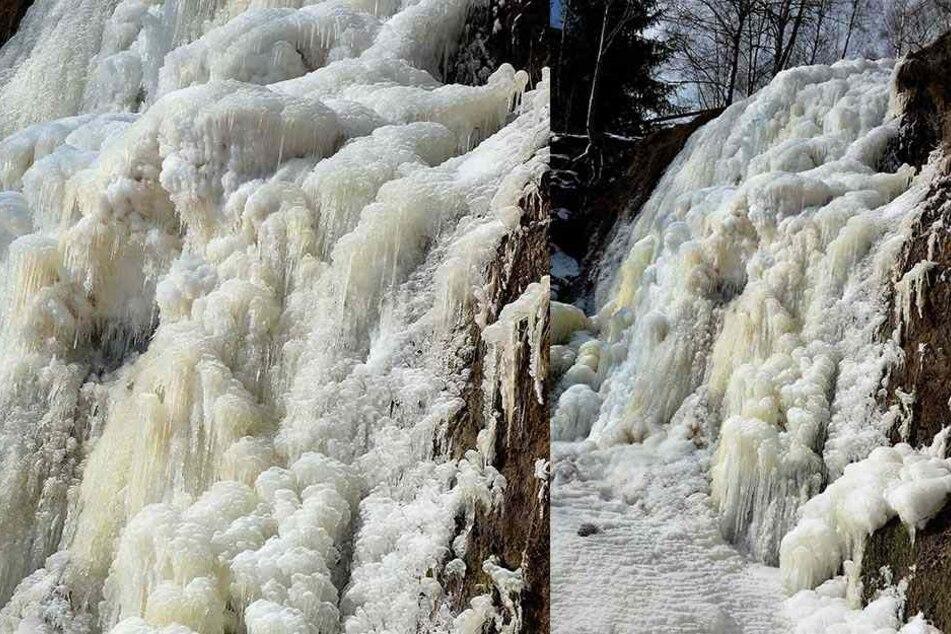 Der Tiefenbach-Wasserfall zwischen Altenberg und Geising ist gefroren.