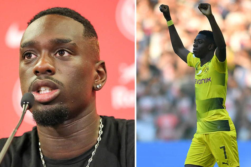 Jean-Kevin Augustin (l.), Neuzugang von Paris Saint-Germain, wurde ein Wechsel in die Bundesliga von BVB-Star Ousmane Dembele (r.) schmackhaft gemacht.
