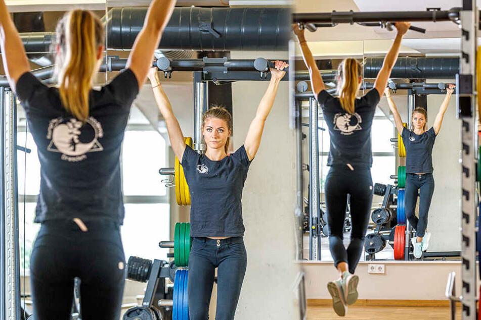 Krafttraining gehört zum täglichen Übungsplan von Sport- und Fitnesskauffrau Josy.