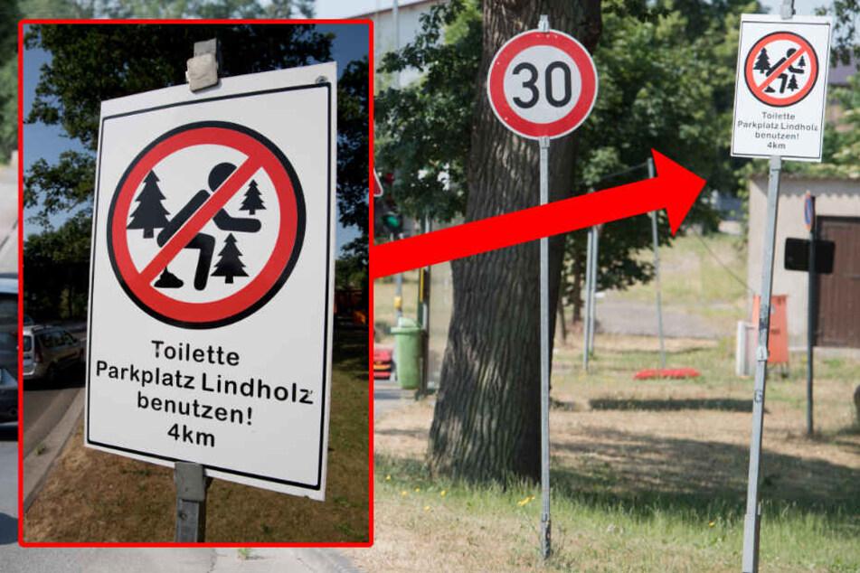 Anschaulich weist ein Schild an der Umleitungsstraße der A20 in Böhlendorf darauf hin, dass Wildpinkeln und das Verrichten größerer Notdurften im Umfeld der Straße verboten sind.