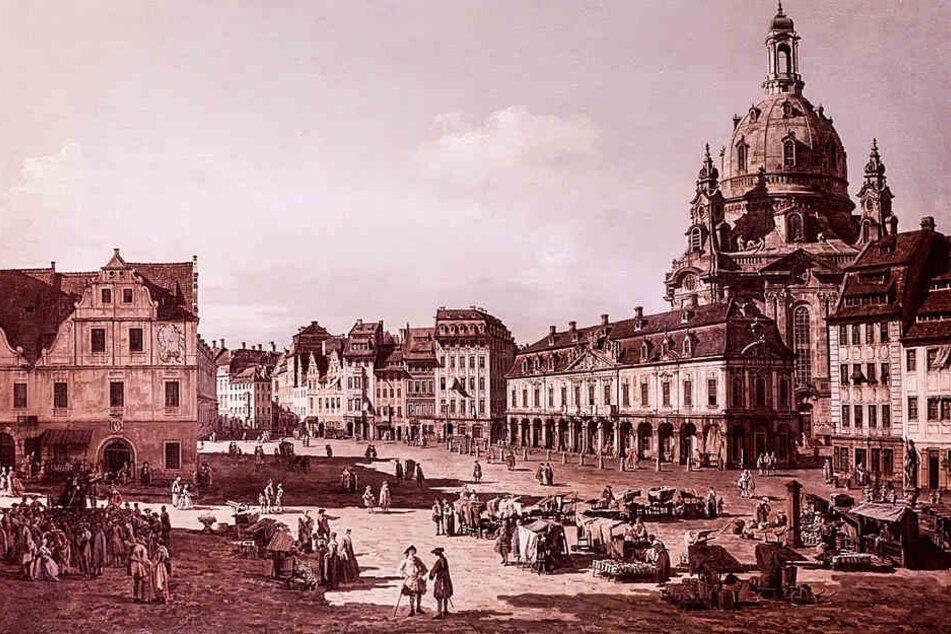 Canalettos Blick auf den Neumarkt zu Dresden von der Moritzstraße aus.