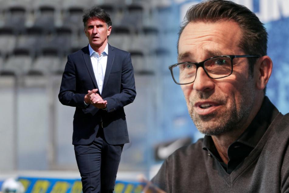 Bruno Labbadia (l) und Michael Preetz (r) wollen Hertha BSC weiter nach oben bringen.