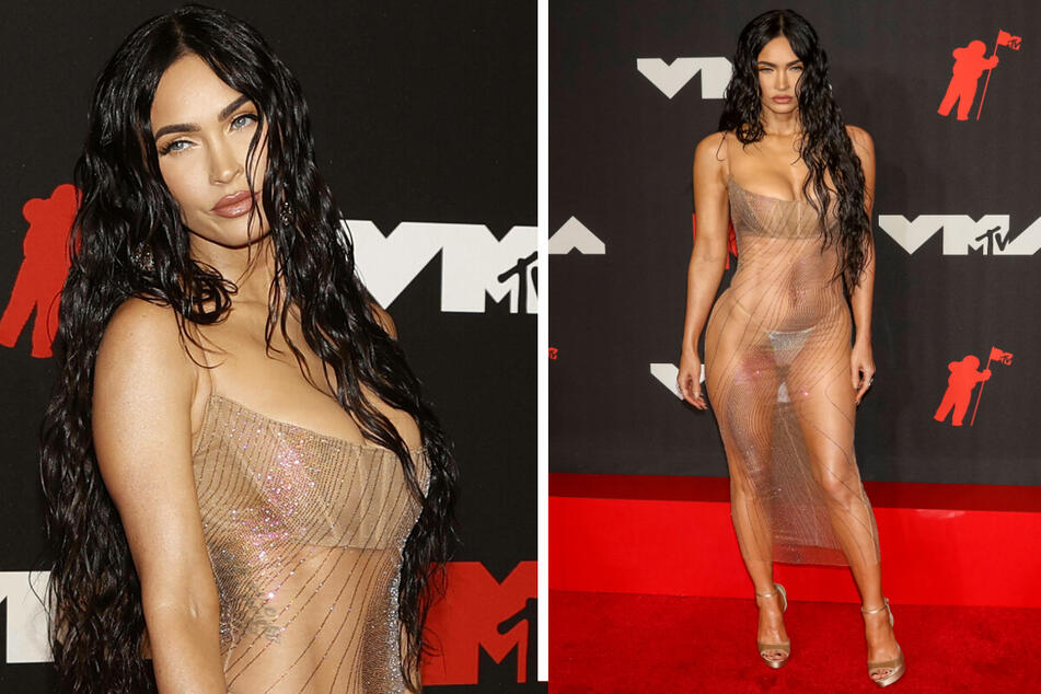 Megan Fox stunned in a see-through dress at the Video Music Awards on Sunday.