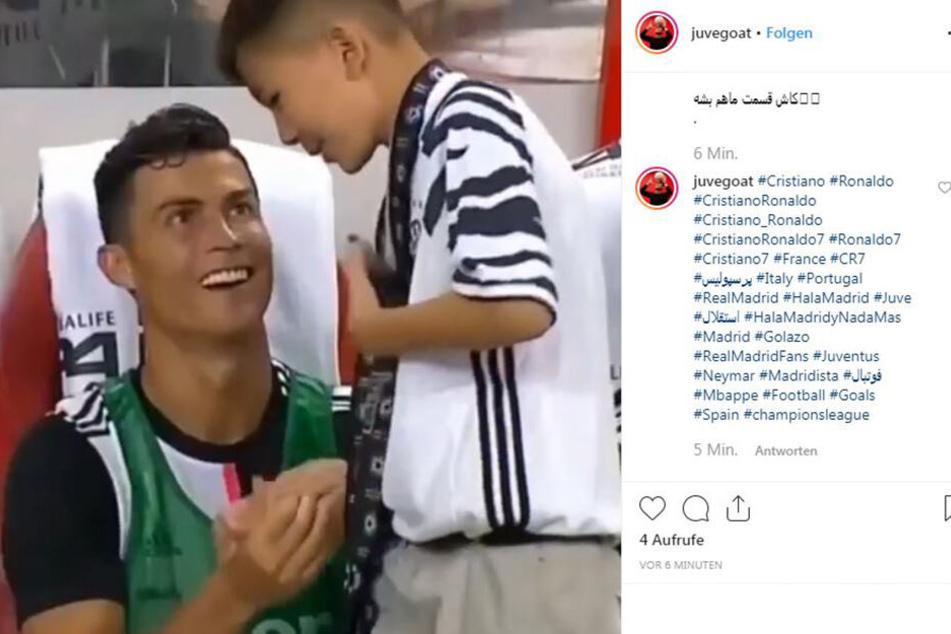 Ronaldo schnackt mit seinem jungen Fan