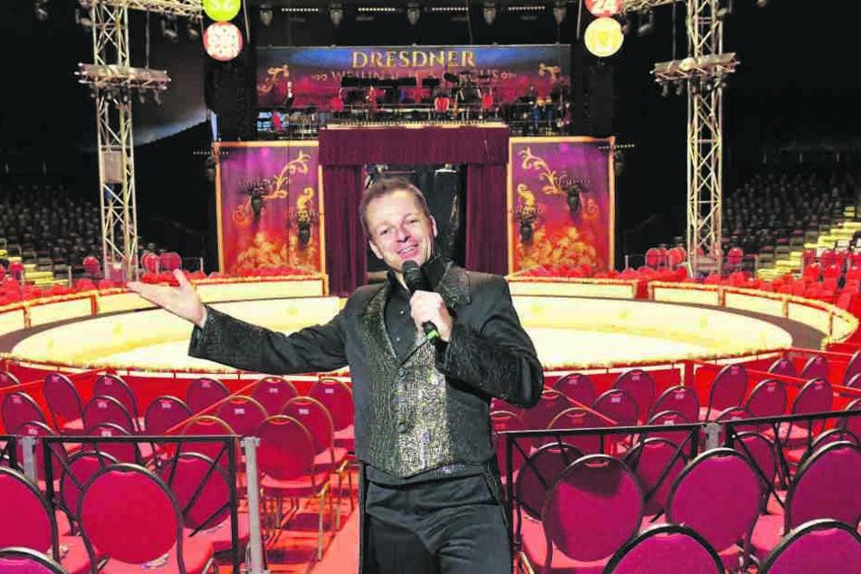 Hereinspaziert! Timo Marc (38) führt die Zuschauer im Chapiteau charmant durchs Programm. Doch er kann noch viel mehr.