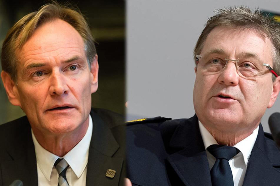 Kritisiert Leipzigs OB Burkhard Jung (l.): Polizeipräsident Bernd Merbitz warnt vor der zunehmenden Kriminalität.