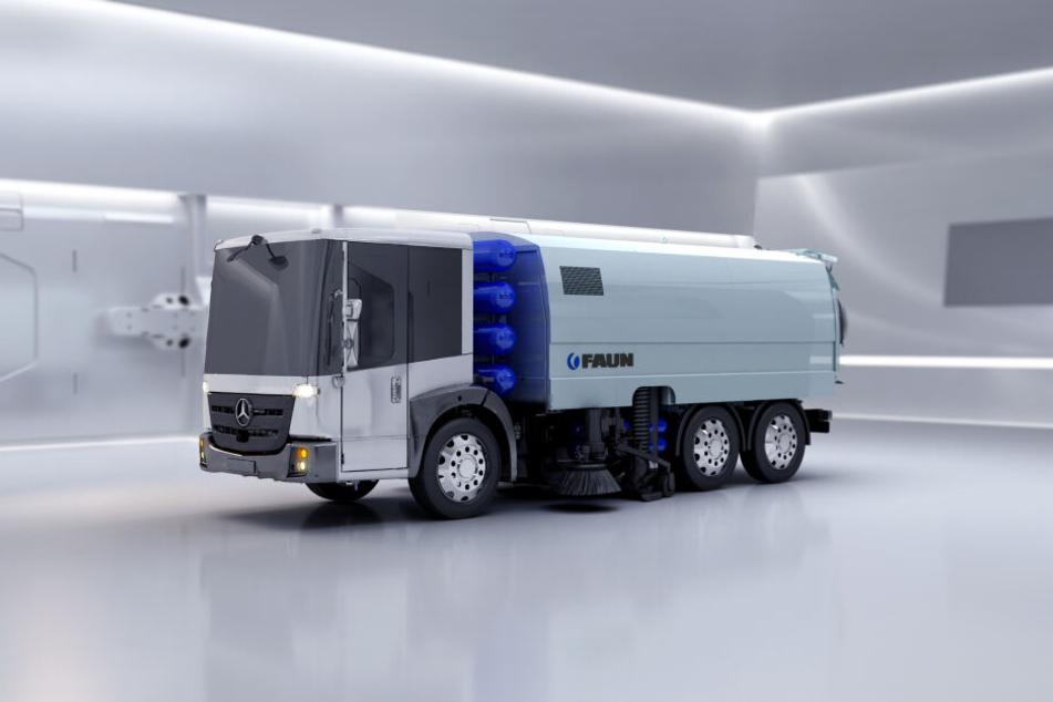 Die in Grimma hergestellten Kehrmaschinen sollen künftig auch mit Wasserstoff fahren.