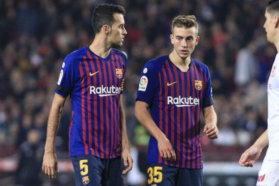 Barcelonas Oriol Busquets (20, r.) besitzt eine Ausstiegsklausel in Höhe von 200 Millionen Euro.