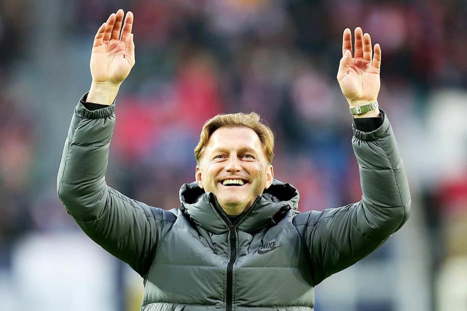 RB-Coach Ralph Hasenhüttl ist sehr zufrieden mit seiner Mannschaft, sprach seinen Jungs ein großes Lob aus.