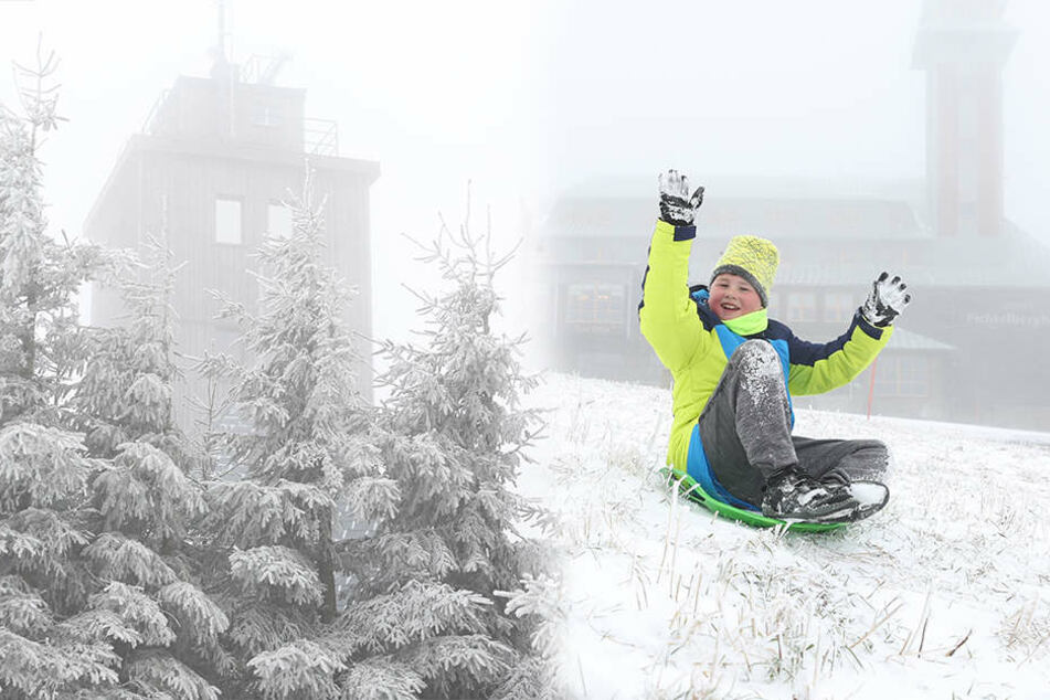 Neuschnee auf dem Fichtelberg: Bis zu 10 Zentimeter Schnee in Sachsen erwartet