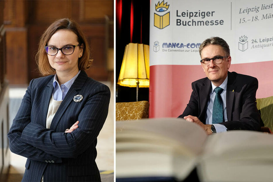 Luminita Corneanu (l.) ist Programmdirektorin zum Schwerpunkt Rumänien auf der Buchmesse, Oliver Zille (r.) der Direktor der gesamten Veranstaltung.