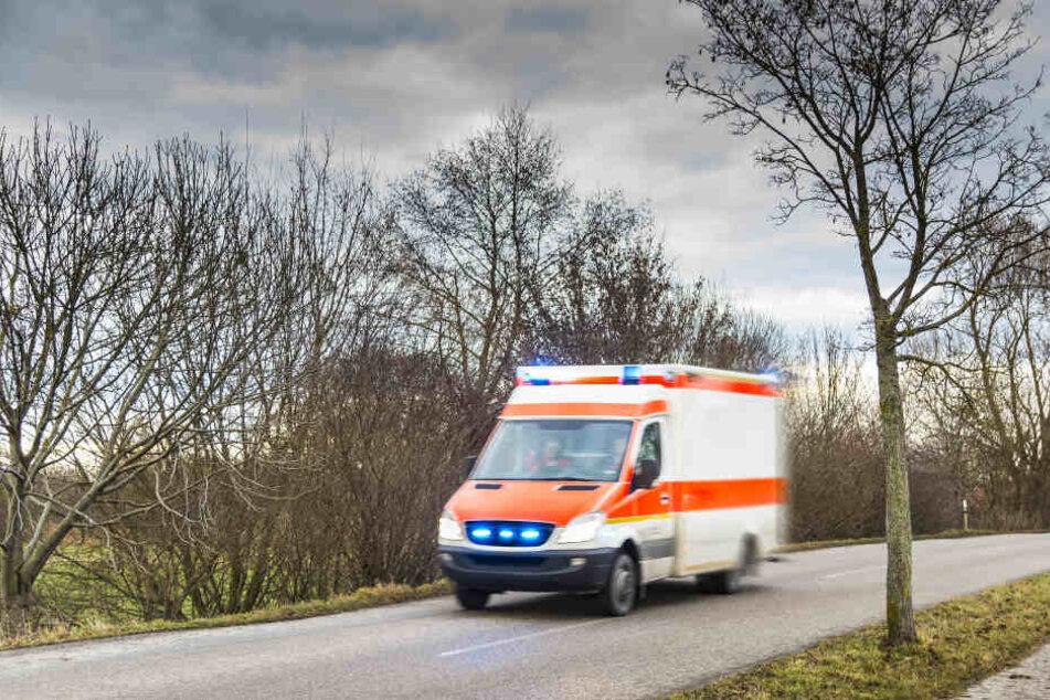 Der verletzte Mann wurde in ein Krankenhaus gefahren.