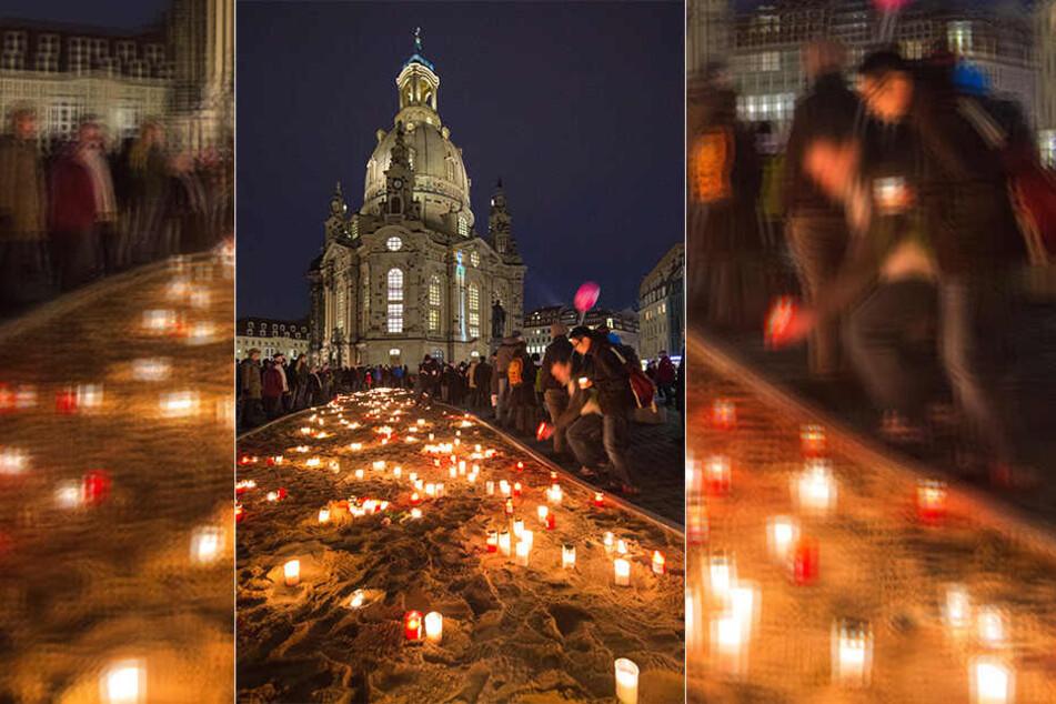 Am Neumarkt vor der Frauenkirche können wieder Kerzen angezündet werden.
