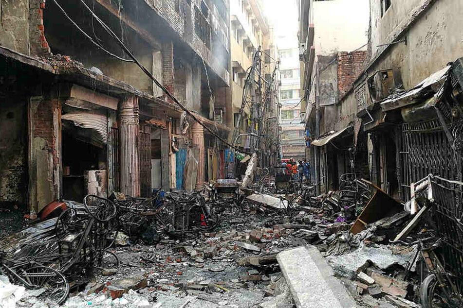Mehrere Gebäude wurden völlig zerstört.