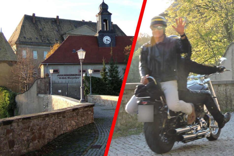 Was macht dieser sächsische Bürgermeister verkehrt herum auf einem Motorrad?