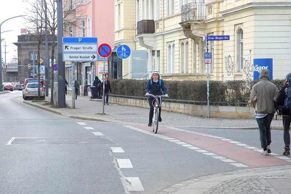 Zwischen Albertplatz und Bahnhof Neustadt wird es in absehbarer Zeit keinen gesonderten Radweg geben.
