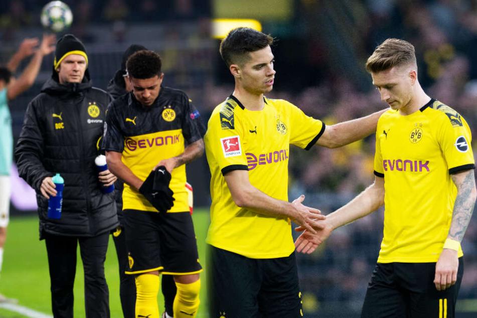 Jadon Sancho (M.) und Marco Reus (r.) drohen dem BVB gegen den FC Bayern München auszufallen.