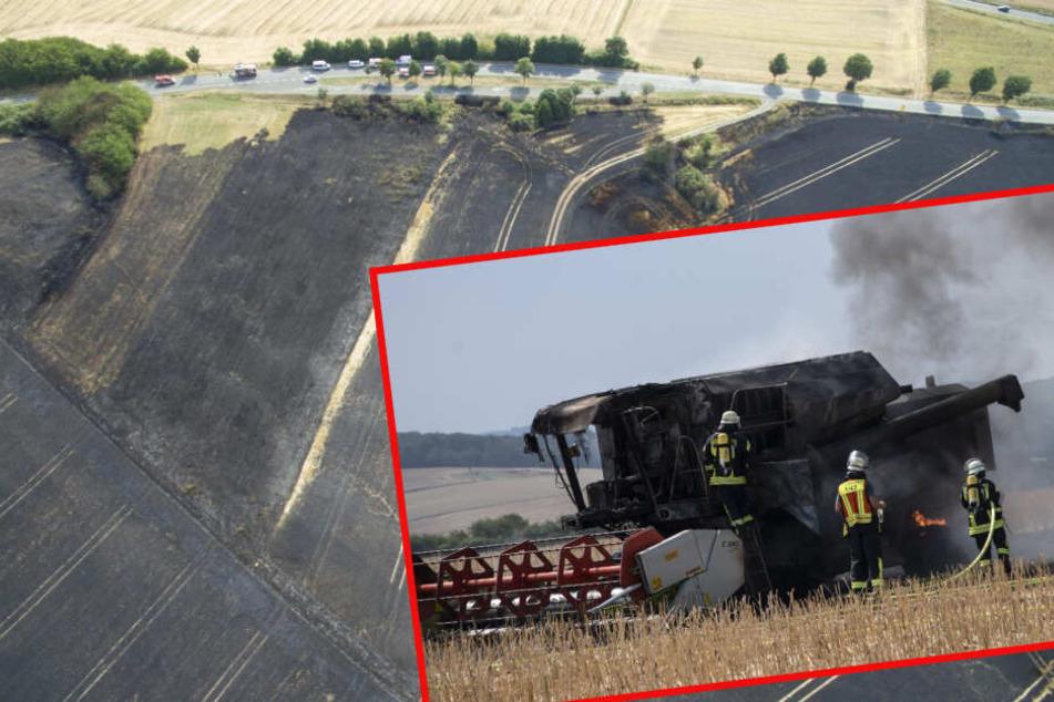 Brennender Mähdrescher fackelt 16 Hektar Feld ab!