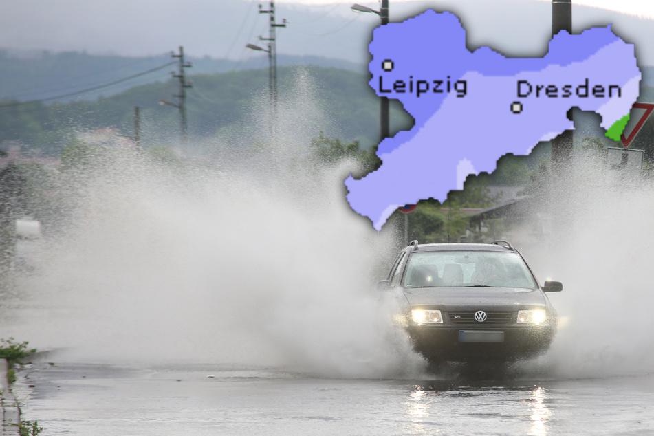 Am Mittwoch wird in Sachsen mal wieder mit Starkregen und Gewittern gerechnet, Hagel und Sturmböen inklusive. (Symbolbild)