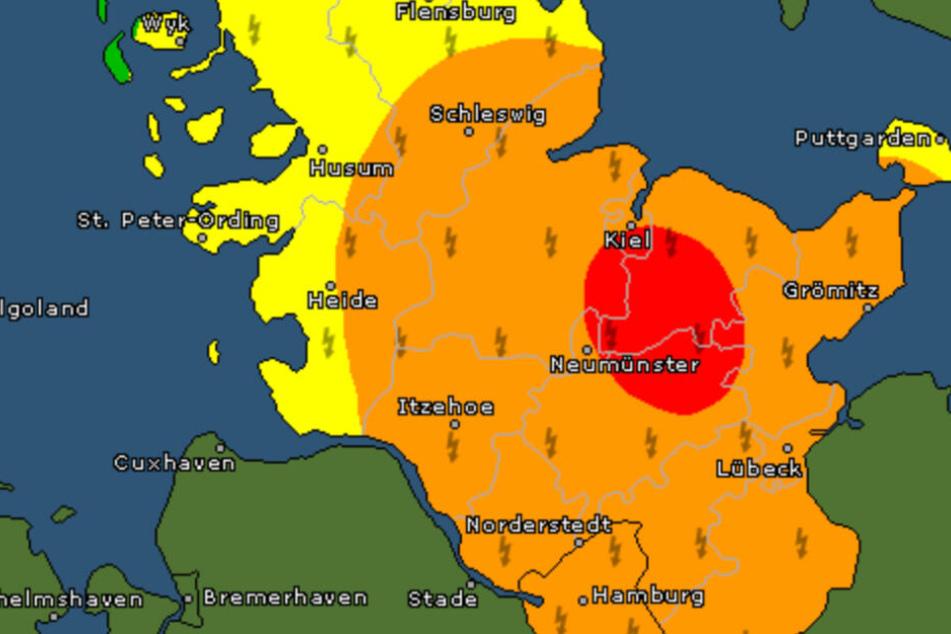 Die Grafik zeigt die Unwettergebiete im Norden Deutschlands.