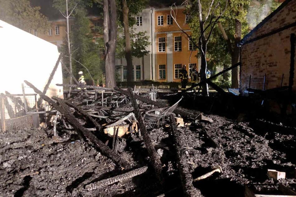 Der vom Feuer betroffene Gebäudeteil ist komplett abgebrannt.
