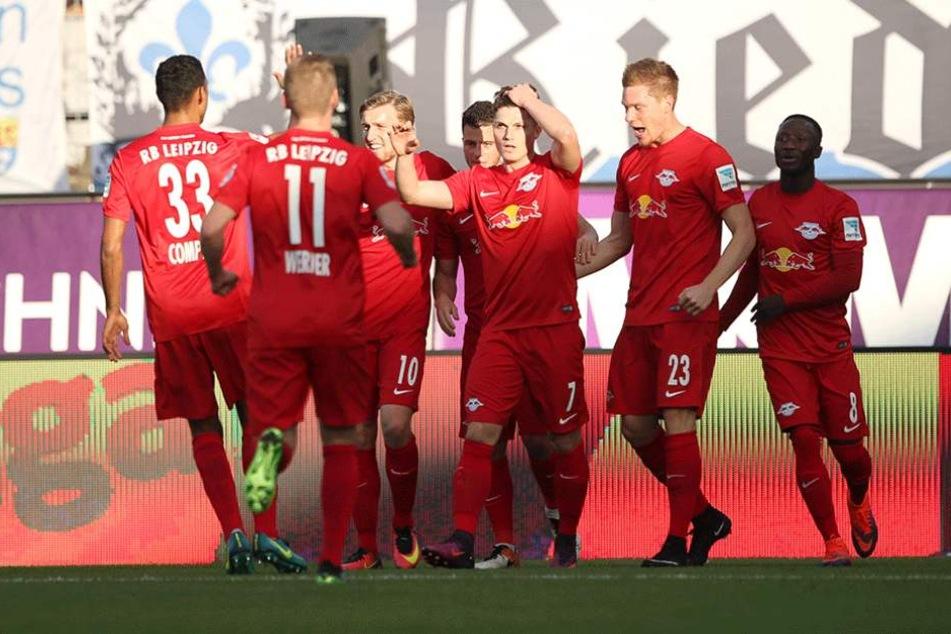 Leipziger Torjubel nach dem 0:1 durch Marcel Sabitzer.