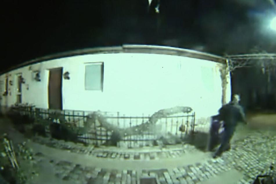 Zielgerichtet läuft der Dieb zur Garage und verlässt das Grundstück wenig später mit dem teuren Bild.