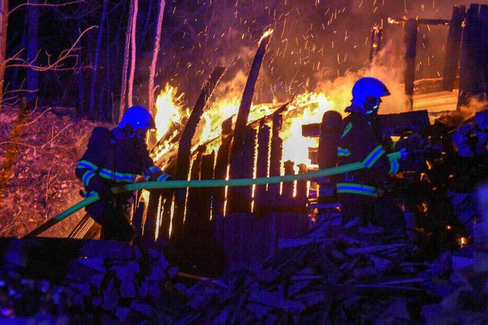 Brand in Holzlager bedroht Waldgebiet: Feuerwehr kann Schlimmeres verhindern