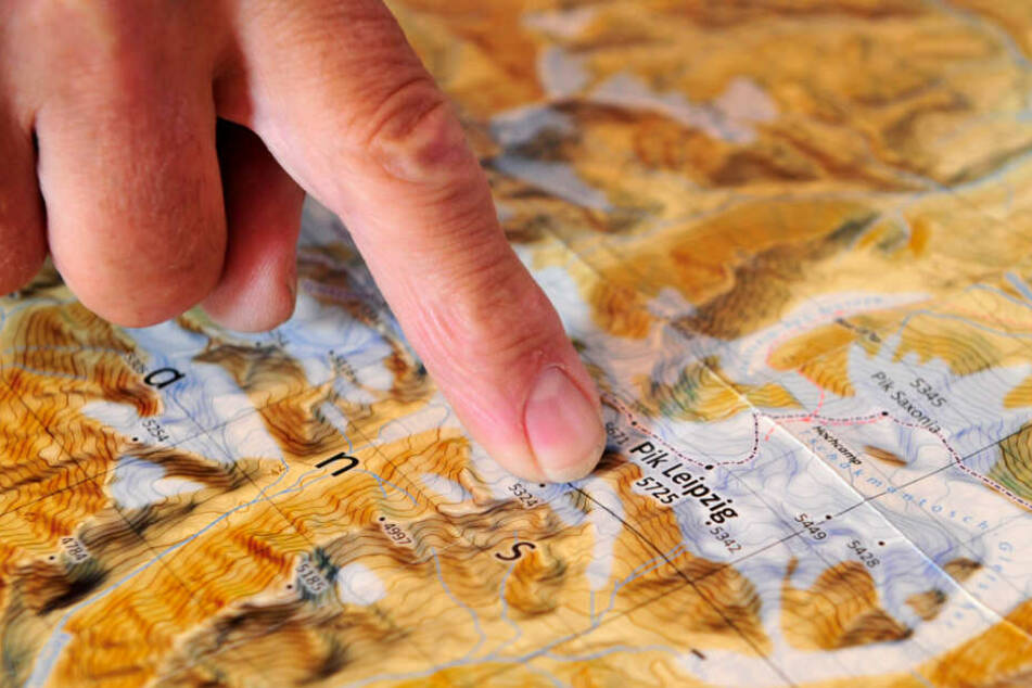 Auch auf einer Karte ist der Pik Leipzig eingezeichnet.