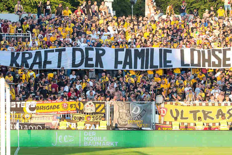 Der Auswärtsbereich der Dresdner Fans in Darmstadt.