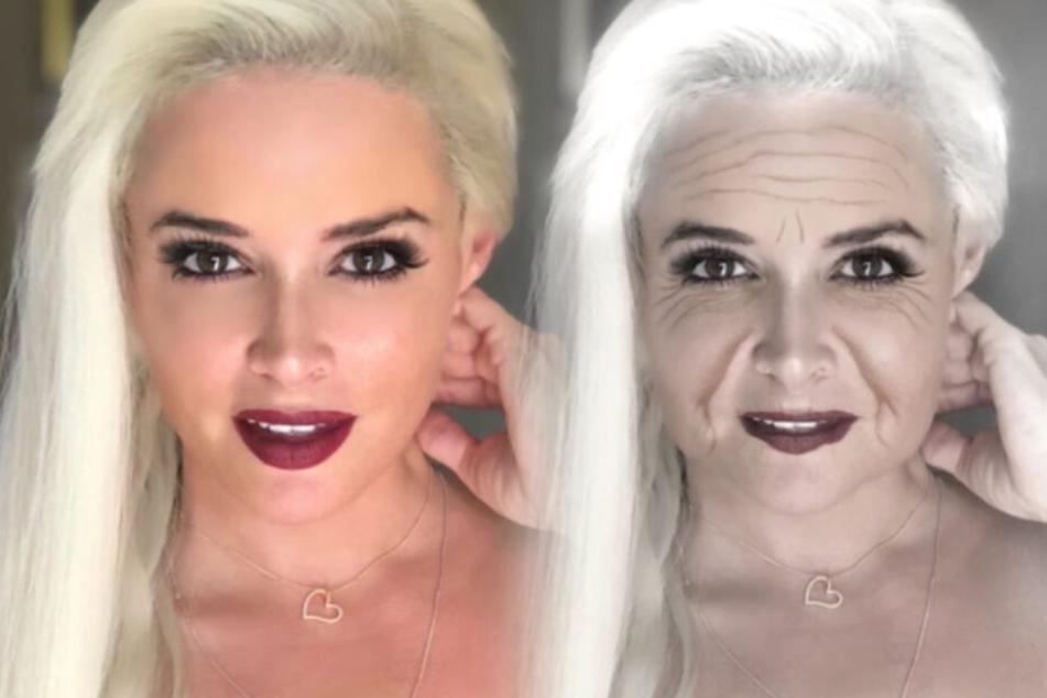 Aus jung mach alt: Daniela Katzenberger nach ihrer FaceApp-Alterung.