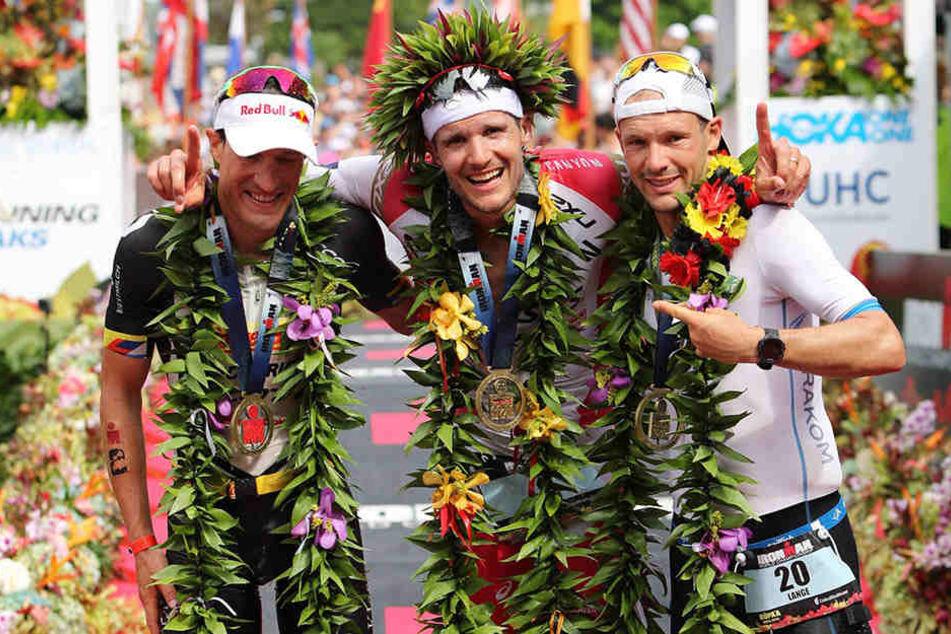 v.l.n.r. Sebastian Kienle (32), Jan Frodeno (35) und Patrick Lange (30) besetzen das Siegertreppchen.