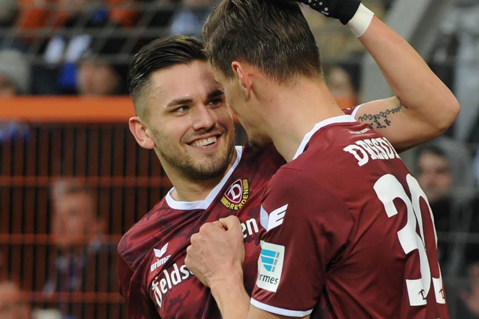 Testroet und Kutschke sorgten für den Dynamo-Sieg in Bielefeld.