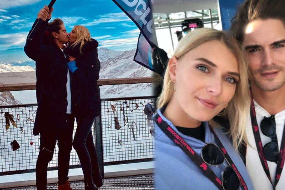 Jolina Fust und Dominik Bruntner genießen ihre Zeit auf dem Jungfraujoch in der Schweiz. (Fotomontage)
