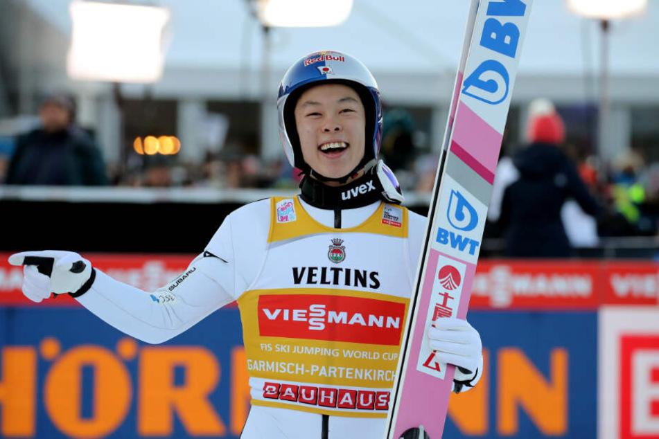 Ryoyu Kobayashi landete in Garmisch-Partenkirchen auf Platz 4.