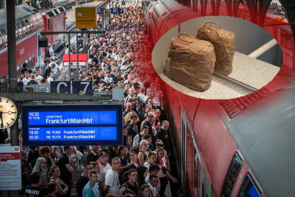 Fotomontage: Ein Zugbegleiter hatte das verdächtige Päckchen auf der Toilette der Regionalbahn entdeckt.