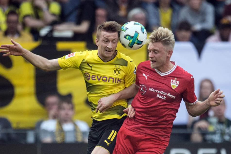 Dortmunds Marco Reus (l.) und Andreas Beck von Stuttgart versuchen an den Ball zu kommen.