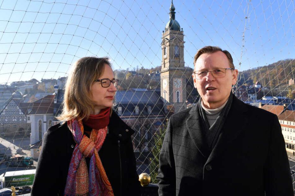 Katja Wolf mit Ministerpräsident Bodo Ramelow, beide gehören den Linken an.