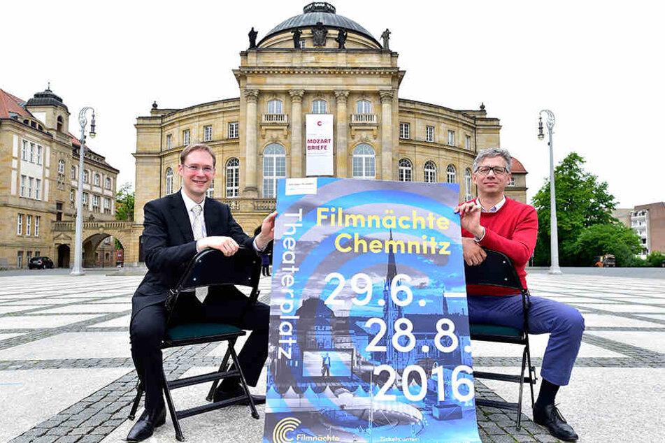 Orchesterdirektor Raimund Kunze (35, l.) und Jörg Polenz (52) von den Filmnächten freuen sich schon auf 2017